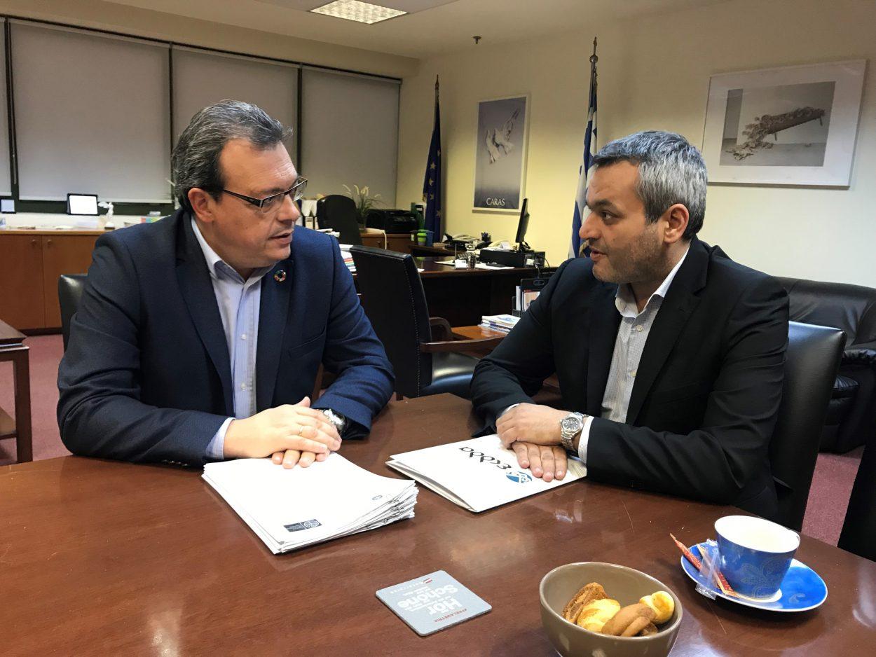 Συνάντηση Χ. Μαμουλάκη με Σ. Φάμελλο για τα έργα διαχείρισης απορριμμάτων